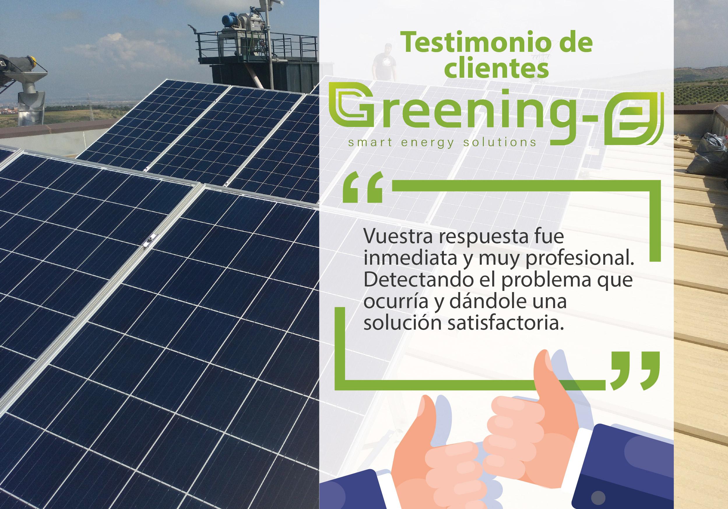 """Testimonios de clientes Greening-e: """"Vuestra respuesta fue inmediata y muy profesional"""""""